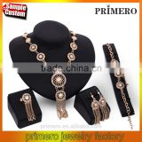 Women Costume 18K Gold Plated Tassel Fashion Nigerian Wedding African Beads Crystal Jewelry Set