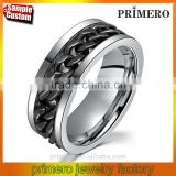 Fashion Spinner Silver Black Chain Ring For Men Stainless Steel Wedding Wholesale Cool Jewelry