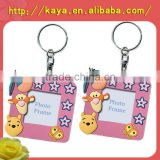 Non phthalate plastic photo key chain/eco-friendly rubber photo keychain
