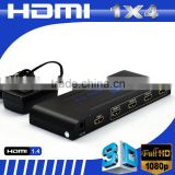 4-Port (1x4) HDMI 1.4 Amplified Powered Splitter / Signal Distributor - Ver 1.3 Full HD 1080P
