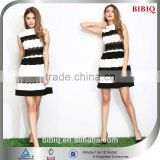 Hot Sale Black and White Stripe High Neck Short Homecoming Dress
