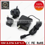 Hot selling 19v2.37a 45w adapter portable notebook power supplier with 3.0*1.1*12mm dc connector for asus