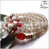 Unique Fashion Jewelry Multilayer Natural Grey Agate Gemstone 108 Malas Prayer Beads Bracelet