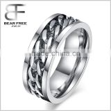 8mm Men's Stainless Steel Silver Tone Curb Chain Band Ring, Rotatable Twisted Chain Ring Spinner Ring