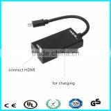 Hot plug HDMI mhl to micro usb adapter for Android phone
