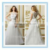 Sweetheart Neckline with Sheer Lace Bateau Neck Overlay Beaded Sash On Double-Faced Satin Ribbon Wedding Dress 2014 (WDWA-1005)