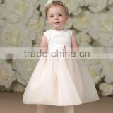 Sleeveless A-Line Organza Baby Hand-Beaded Waistband Sash Embellished Flower Girl Dress(FLMO-3091)