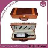 Fashion Newest Design Single Bottle Leather Wine Packaging Box with Accessories Wholesale