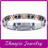 Wholesale Tungsten Scalar Energy Bracelet Jewelry Gold & Steel Two Tone 316L Stainless Steel Fashion Open Bio Magnetic Bracelet