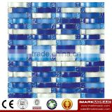 IMARK White Mix Blue Color Wavy Shape Hand Painting Crystal Glass Mosaic Tiles for Wall Backsplash Code IVG8-045