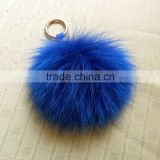 Wholesale Cute Blue Color Fox Fur Pom poms with Keychain