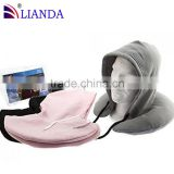 Amazon hot sale memory foam neck pillow with hoody, STABILE Promotion wholesale custom travel pillow hood