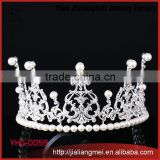 Yiwu Factory Directly Elegant Queen Crown Large Bridal Rhinestone Pageant Bridal Wedding Tiara
