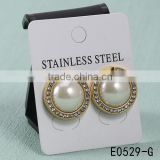 Gold plated stainless steel artificial CZ diamonds big pearl stud earrings for women