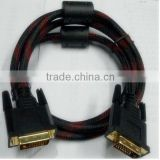 High-definition male to male 1.5M nylon braid DVI to DVI cable from china in alibaba express