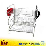 Kitchen 3 Tier Stainless Steel Dish Drying Rack with 2 Plastic Cutlery Holder