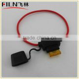 black waterproof car blade fuse holder with 20cm AWG18 wire and fuse