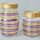 high quality round glass candy jar with hand drawing