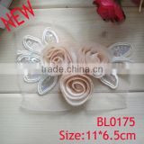 New design handmade beautiful dress chiffon lace fabric flower applique