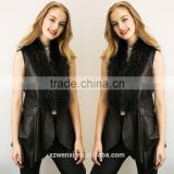 wholesale 2016 new latest design winter long thin pu leather waistcoat faux fox fur woman vest