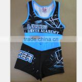 Cheap Girls Cheerleader Uniforms, Comfortable Lycra Compression Cheerleading Bras and Shorts