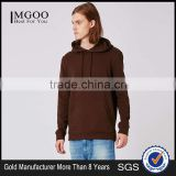 Wholesale Men Pullover Plain Oversized Classic Fit Brushed Cotton Drawstrings Hoodie Brown With Front Pocket