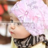 beautiful design rose lace hat babies hat super little girls hat hot selling for this yesr