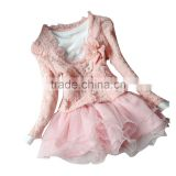 Autumn Spring Winter Baby Children Girl Long Sleeve Coat Jacket +Lace Layered Tutu Dress