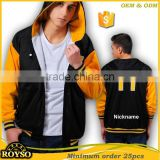 Customize Custom Cheap American Hoody Letterman Black Bomber Wholesale Team High School College Varsity Men Baseball Jacket