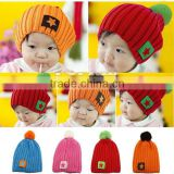 hot sale colorful fashion pentagram thick winter children baby hat
