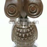 Wood Sculpture Large Dark Owl Figurine Unique Carving Bird Statue Home Goods Art Decor Affordable Handmade Gift