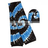 Tie dyed knitted scarf and hat set