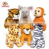 Stuffed plush animal toy assortment tiger/giraffe/elephant/monkey/zebra/lion for promotional