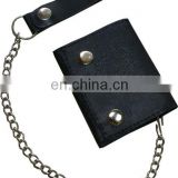 HMB-725A BIKER LEATHER WALLET CHAIN BLACK TRIFOLD