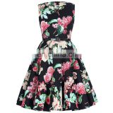 Kate Kasin Children Girls Sleeveless Round Neck Vintage Retro Cotton Floral Pattern Kids Summer Dress kKK000250-7