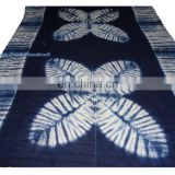 Handmade Indian Shibori Natural Dyed Cotton Fabric Throw Indigo Blue Blanket