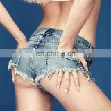 Sexy Booty Cheeky Denim Bikini Micro Mini Shorts Thong Jeans Triangle Low Rise Waist Skinny Short Hotpants Hot Clubwear