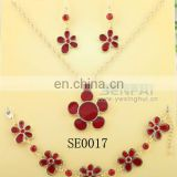 Fashion Silver Chain Shiny Diamond Red Enamel Necklace Bracelet and Earring Jewelry Set