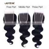 cheap 100% human hair lace closure unprocessed virgin brazilian hair free part lace closure wholesaler