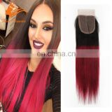 Two Tone Color Cheap Lace Front Closure Brazilian Hair Sliky Straight 4x4 1BT Burgundy Lace Closure With Baby Hair