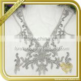 Handmade bridal neckline beaded lace rhinestone applique work designs for dresses FHA-064