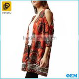 OEM customized design orange print split back cut out shoulder kraft kimono cardigan for ladies