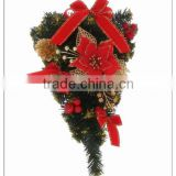 China Made PVC Garland Wreath with Flowers and Ribbons Items For Christmas Outdoor Ornament