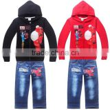 2015 Boys Big Hero 6 Hoodies+Jeans 2Pcs Suit Children Baymax Coat +Denim Pants Set Kids Cartoon Long Sleeve Clothing Set