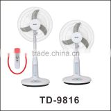 Great 16 inch Solar Panel/Battery Operated Rechargeable Fan Electric Fan with Long Life Performance