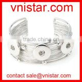Vnistar alloy metal snap button cuff bangle jewelry for 18mm snap button charm wholesale NBR005-1