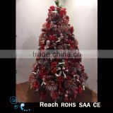 New design top quality artificial christmas tree with Red & pink fabric bow ornaments for new year & wedding decoration