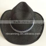 men'/women's black paper straw beach hats/fashion cowboy hats