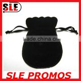 Wholesale Cheap Flannelette Drawstring Bag Black Flannelette Drawstring Bag