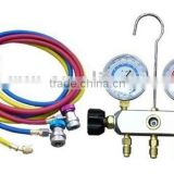 2-Valve Piston Valve refrigeration manifold gauge set With Sight glass & 1/4 SAE Fittings